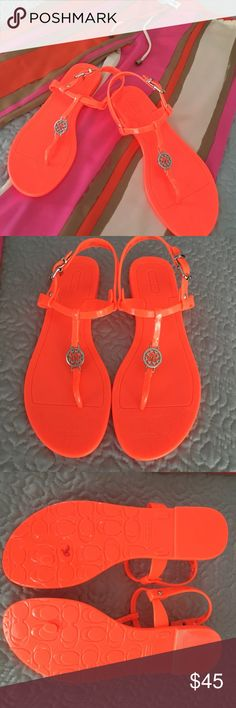 COACHOrange Thongs Brand-new, never worn. NEON Orange COACH  JELLY THONGS. Perfect for a beach day, or when you want a Pop of color! Coach Shoes Sandals