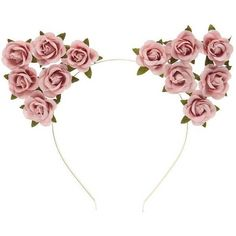 Forever21 Floral Cat-Ears Headband ($4.13) ❤ liked on Polyvore featuring accessories, hair accessories, dusty pink, hair band accessories, rose headband, metal hair accessories, floral cat ears headband and metal headbands