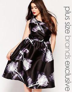 Chi Chi London Plus One Shoulder Mono Printed Midi Dress