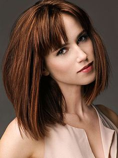 long bob with bangs. request that bangs be cut with a straight blade razor in slight zigzag motion. Ends should hit just below the arch of the eyebrow.