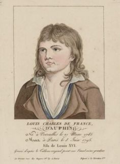 An engraving of Louis-Charles, son of Marie Antoinette and Louis XVI,  as he appeared in prison.  Louis-Charles was kept in squalid conditions and died of neglect and tuberculosis.