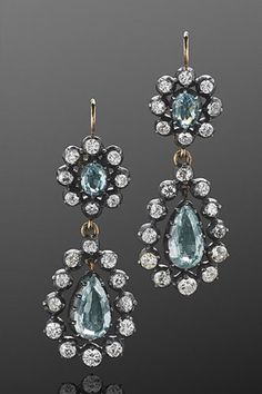 Dream Ticket: 14 Luxe Jewels Totally Worth The Major Splurge    Fred Leighton Antique Diamond and Aquamarine Pendant Earrings, consult for price,