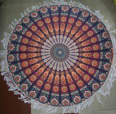 Round Mandala Indian With Multi Pom Pom Tapestry Beach Picnic Throw Yoga Towel Hanging Table, Hanging Art, Tapestry Wall Hanging, Wall Tapestries, Tapestry Beach, Mandala Tapestry, Beach Hippie, Hippie Boho, Bohemian