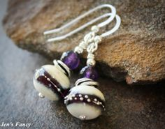 Handcrafted Lampwork Earrings Awesome Ivory with by JensFancy, $35.00