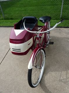 Résultat d'images pour Schwinn Sidecar Bicycle Rims, Old Bicycle, Cruiser Bicycle, Old Bikes, Cool Bicycles, Vintage Bicycles, Bike With Sidecar, Side Car, Push Bikes