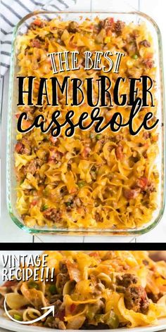 Hamburger casserole is one-dish comfort food at its finest. Baked with noodles, ground beef, seasonings, cheese, and veg Best Hamburger Casserole Recipes, Hamburger Dishes, Easy Casserole Recipes, Beef Dishes, Casserole Dishes, Food Dishes, Hamburger Noodle Casserole, Cheeseburger Casserole, Noodles