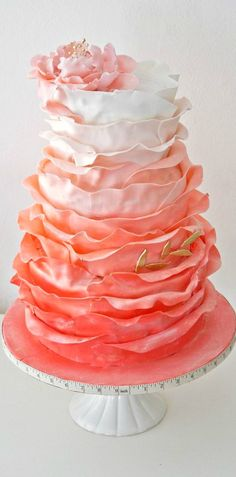 Ruffled Coral Obre Cake with Peony