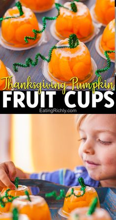These cute pumpkin fruit cups make an easy Preschool Thanksgiving craft that's as fun to eat as it is to make! All you need are mandarin orange or peach fruit cups, green pipe cleaners, and tape! #thanksgivingcraftsfor kids #thanksgivingcrafts #thanksgivingactivities #preschoolcrafts #preschoolactivities #preschooler #preschoolthanksgivingideas #thanksgivingsnacks #cutefood #ediblecraft #pumpkincraft