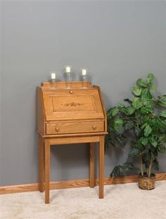 Amish Solid Wood Shaker Secretary Desk Full of charm, this little secretary desk rates for adding workspace that's easy to close up for a nice, neat look. A perfect fit in any room. #secretarydesk #desk #Amishfurniture