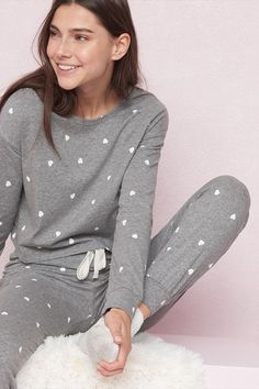 Cropped long sleeve pj tee pjs in 2019 одежда, белье, халат Cute Pjs, Cute Pajamas, Girls Pajamas, Lazy Day Outfits, Trendy Outfits, Cool Outfits, Fashion Outfits, Fashion Ideas, Loungewear Outfits