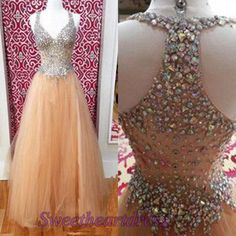 Gorgeous long prom dress with straps, sparkly pink tulle evening dress for teens #coniefox #2016prom