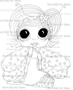 $3.00 INSTANT DOWMLOAD Digital Digi Stamps Big Eye Big Head Dolls Digi  My Besties IMG858 By Sherri Baldy
