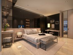 Service apartment interior design - modern bedroom