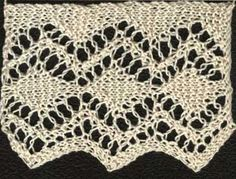 Knitted lace edging with diamond pattern