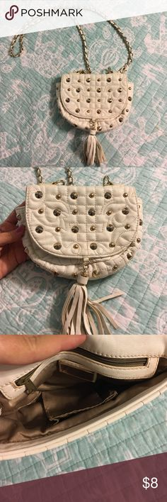 Studded purse White cross body purse with gold stud detailing. Used but in good condition. Bags Crossbody Bags