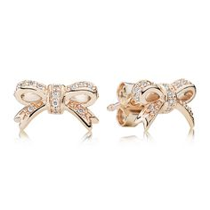 Bow Stud Earrings [280555CZ] - £24.00 :