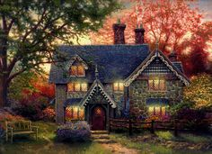 Thomas Kinkade - Stone Cottage