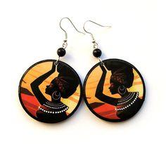 African Earrings Decoupage Africa brown ecru Ghana by SaboDesign, $19.00
