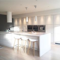 Simple. White. Contemporary Kitchen...Beautiful.