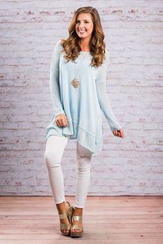"""""""Your Own Way Top, Light Blue""""Your way is the best way to wear this top! You can style is any way you like to reflect your mood and personality! #newarrivals #shopthemint"""