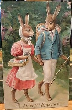 VINTAGE-EASTER-SCARCE-GERMAN-EMBOSSED-POSTCARD-LITHOGRAPH-DRESSED-RABBITS