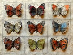 Butterfly Collection for the garden room - embroidery by Corinne Young