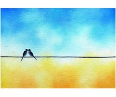 This is an original oil painting of two kissing love birds on a wire. These whimsical birds sit together beneath a cheerful blue and sunshine yellow sky. This small art is a great size for gifting! Painting No. Love Birds Painting, Surrealism Painting, Mid Century Modern Art, Rainbow Art, Silhouette Art, Small Art, Blue Art, My Collection, Texture Art