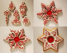 They look gorgeous! Christmas Sugar Cookies, Christmas Sweets, Holiday Cookies, Christmas Baking, Handmade Christmas, Gingerbread Cookies, Fondant Cookies, Iced Cookies, Cupcake Cookies