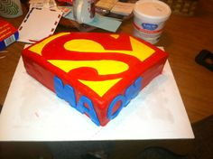 made this superman cake for my sister in laws baby shower :)