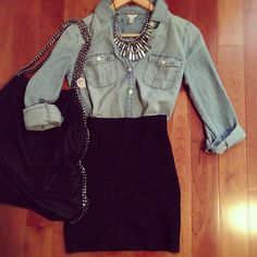 thats a great way to wear a denim shirt in a semi formal way !