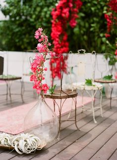 rustic wire chairs + printed rug + bougainvillea // Rue Magazine Summer Wedding Inspiration