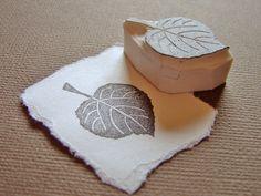 linden leaf - hand carved stamp.