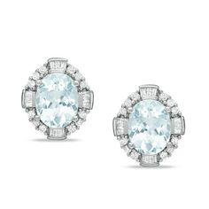 Oval Aquamarine and 1/2 CT. T.W. Diamond Framed Earrings in Sterling Silver - Zales