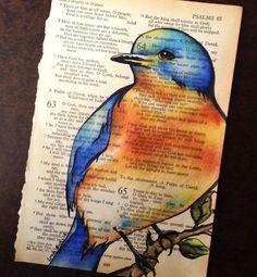 Vintage bible page, pen & ink, Prismacolor colored pencils