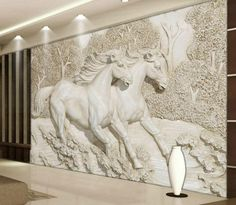 Decorative Wallpaper for Walls Living Room Stereo Relief White Horse Wallpaper Murals Wall Paper Home Improvement Decorative Wallpaper for Walls 3d Wallpaper Mural, Horse Wallpaper, Custom Wallpaper, Photo Wallpaper, Temporary Wallpaper, Living Room Murals, Bedroom Murals, Living Rooms, Bedroom Tv