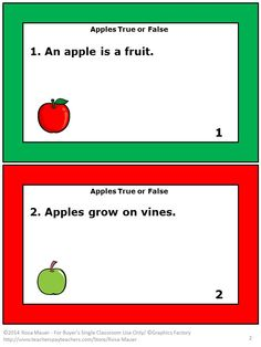 "Apples are here! There is a true or false statement about apples on each task card. An Apples response form is included for student response. An answer key is provided for the teacher. A worksheet with information identical to the task cards is provided for students who need an alternative format. These task cards correspond with ""Apples"" by Gail Gibbonsm but may be used with your own unit about apples. Science Facts, Science Lessons, Facts For Kids, Fun Facts, Teaching Resources, Teaching Ideas, Gail Gibbons, Special Needs Students, Thing 1"