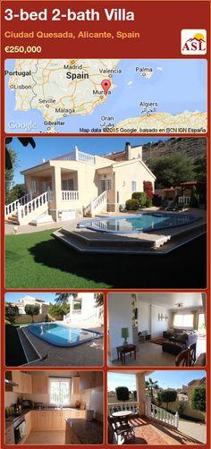 3-bed 2-bath Villa in Ciudad Quesada, Alicante, Spain ►€250,000 #PropertyForSaleInSpain