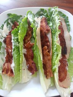 Turkey and Bacon Lettuce Wraps - I would switch it up: Chicken slices with turkey bacon.