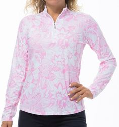 #lorisgolfshoppe Women's Golf Apparel offers a classy collection of golf skorts, shorts, dresses, and golf tops. You gotta see this Kona Coast Pink SanSoleil Ladies SolCool Print Long Sleeve Zip Mock Golf Shirt with unique , pretty prints and colors!