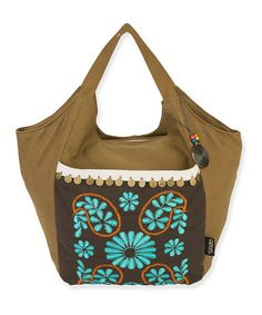 Love this Brown & Turquoise Embroidered Bolsa Tote by Catori on #zulily! #zulilyfinds