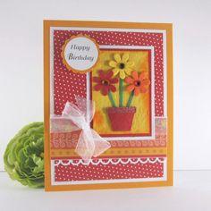 Feminine birthday card, personalized card,  handmade card, for her, womens birthday card, via Etsy