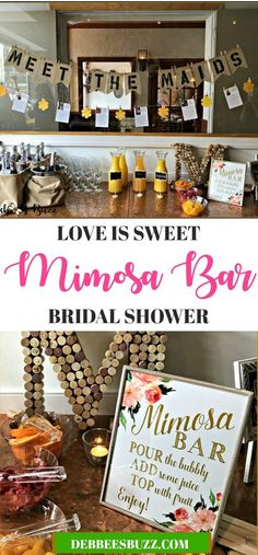 Check out this meet the girls' decorative banner and business cards with a love is sweet bridal shower mimosa bar is sweet Bridal Shower Planning, Bridal Shower Signs, Bridal Shower Rustic, Bridal Shower Invitations, Bridal Shower Banners, Wedding Shower Foods, Bridal Shower Pictures, Bridal Shower Registry, Bridal Shower Luncheon