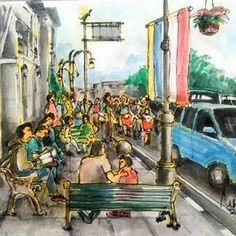 Jalan Asia Afrika (alun alun bandung) Mungpung hari cerah tiada hujan#art #drawing #ink #watercolor #instaink #instadraw#instasketch #alunalunbandung #sketch #sketchbook #sketchwalker #urbansketch #bandung #bandungjuara City Sketch, Watercolor, Drawings, Sketches, Painting, Instagram, Africa, Watercolour, Draw