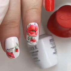 What Christmas manicure to choose for a festive mood - My Nails Fancy Nails, Red Nails, Cute Nails, Pretty Nails, Glitter Nails, Valentine's Day Nail Designs, Flower Nail Designs, Holiday Nails, Christmas Nails