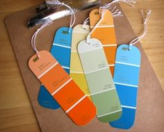 21 Paint Chip Craft Ideas--Round the corners and add string; give to your favorite bookworm.