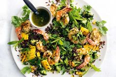 The honey balances the spicy lime and is great with the prawns in this fresh gluten-free rice salad.