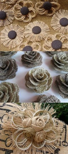 35 Projetos Baratos Para Costurar com JUTA em Menos de 24 Minutos - Herzlich willkommen Twine Flowers, Felt Flowers, Diy Flowers, Crochet Flowers, Fabric Flowers, Paper Flowers, Flower Ideas, Burlap Crafts, Fabric Crafts