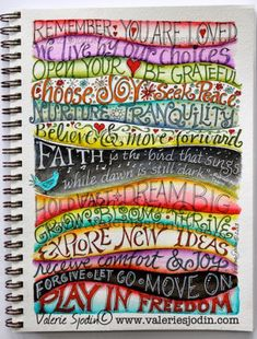 Keep creativity alive. Play with colors, wavy lines & lettering. Lettering examples for your journal or Smash Book here. Art Journal Pages, Journal D'art, Creative Journal, Art Journals, Journal Challenge, Art Journal Prompts, Visual Journals, Journal Ideas Smash Book, Artist Journal