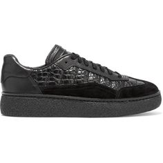 Alexander Wang Eden paneled croc-effect leather and suede sneakers (£150) ❤ liked on Polyvore featuring shoes, sneakers, black, crocs sneakers, platform sneakers, leather shoes, black suede sneakers and black lace up shoes