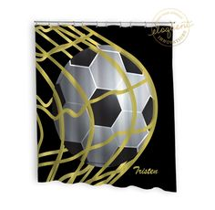 Soccer Shower Curtains   Sports Black U0026 Gold   Soccer Shower Curtain   Boys  Or Girls Personalized Polyester Fabric #265